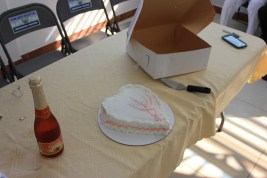 The staff and Espwa team shared a cake and sparkling cider